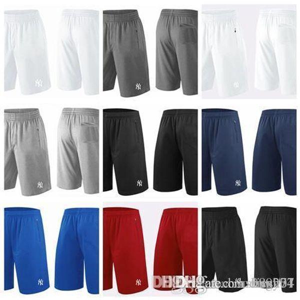 best selling 2018 Men's NY Yankees Shorts White Gray Black Navy Blue Red Franchise Performance Shorts Size S M L XL XXL XXXL Baseball Shorts Jerseys