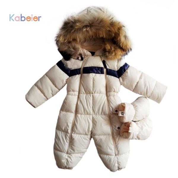 Детские комбинезоны зима толстые мальчики костюм девушки теплый младенческой Snowsuit ребенок комбинезон дети верхняя одежда Детская одежда 0-24 м полиэстер