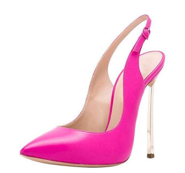 Design de marca Mulheres Moda Apontou Toe Stiletto Bombas De Salto De Metal Rosa Laranja De Salto Alto Sexy Clube Sapatos de Casamento Sapatos