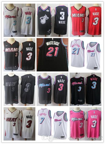 buy popular de93c afd62 2019 Miami Vice City Earned Edition Dwyane 3 Wade Jersey Heat Basketball  Goran 7 Dragic Hassan 21 Whiteside Jerseys Short Red Black White From ...