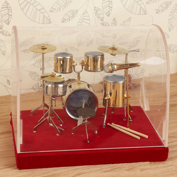best selling Mini Drum Model Copper Decoration Home Mould Decoration Musical Decoration Miniature Drum Set Collectible