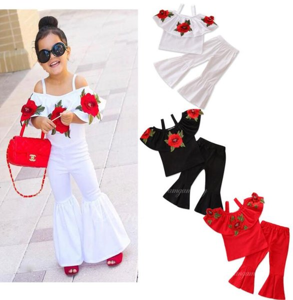 Girl Off SHoulder Shirt + Pants 2pcs Suits Kids Rose Flower Sling Top Bell-Bottom Trousers Toddler Clothes Sets Children Outfit GGA2283
