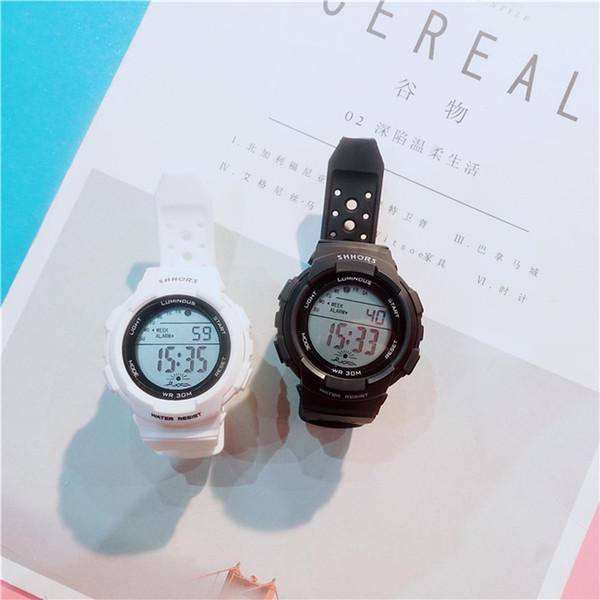 Relojes deportivos para niños LED 2019 La mejor venta Correa de goma suave Relojes de pulsera de cuarzo de colores claros para mujeres Niños Relojes de movimiento de Japón