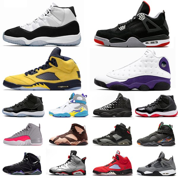 2019 Concord Bred 11s Hommes Femmes Chaussures de basketball 4s Bred 5s Michigan Inspire 13s Casquette et robe LA 12s Jeu Royal Sneakers
