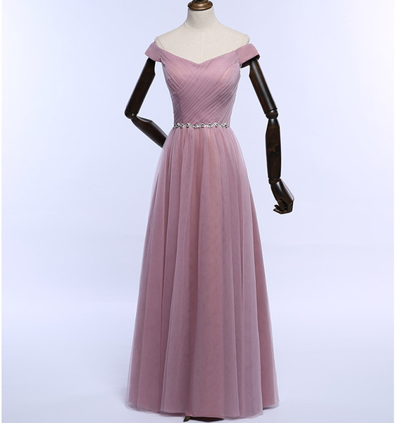 Blush Tulle Long Bridesmaid Dresses with Crystal 2019 Floor Length Wedding Guest Dress Lace Up Maid Honor Of Gowns