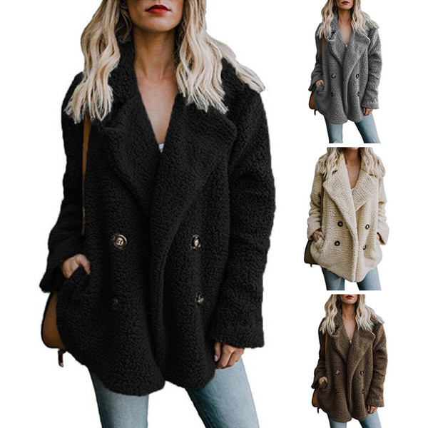 Womens Winter Plush Thicken Long Sleeve Oversized Coat Wide Lapel Collar Solid Color 4 Buttons Up Loose Jacket With Pockets Jump