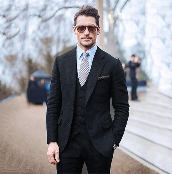 XLY 2019 Tailored Black Tweed Wedding Groom Prom Mens Suits Custom Made Tuxedos Masculino Terno Men Suit 3pieces(Jacket+Pants+Vest)