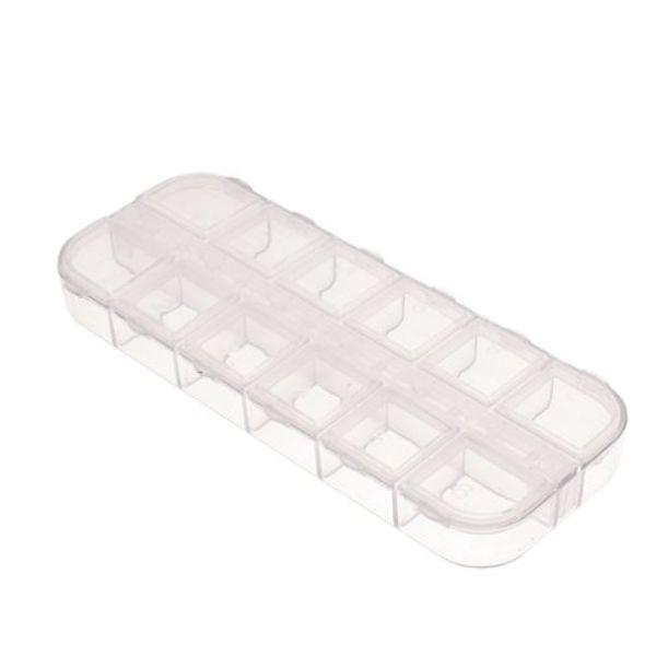 Boîte de rangement vide à 12 compartiments pour outils de bricolage avec strass scintillants