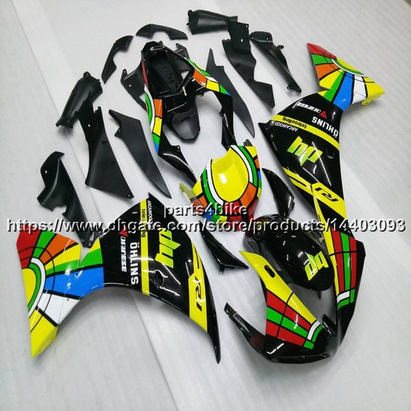 Custom + 5Gifts Amarillo verde negro motocicleta Carenado Para Yamaha YZFR1 09 10 11 YZF-R1 2009 2010 2011 kit de carenado del motor de plástico ABS