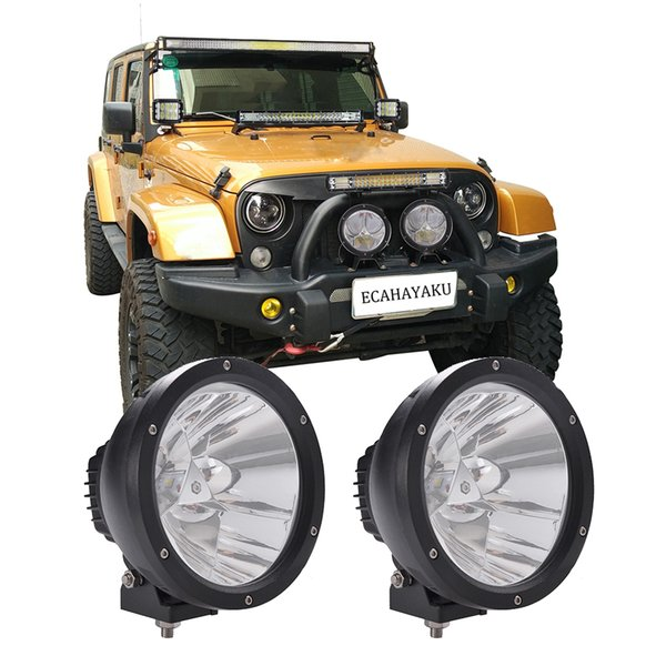 ECAHAYAKU 2x 7 pulgadas 45W faro led luz de conducción 12V 24V Cannon round Vision luz de trabajo led 4x4 todoterreno wrangler rubicon JK CJ