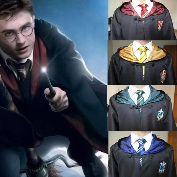 Kids Boys girls Harry Potter Robe Cloak with Tie Cape Cosplay Costume Kids Adult Robe Cloak Gryffindor Slytherin Ravenclaw cloak QZZW117