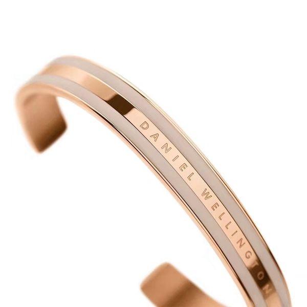 1 STÜCKE Rose Gold DW Armbänder 100% Edelstahl Manschette Mit Rosa Grau Rot Weiß Streifen Armreif Mit Box