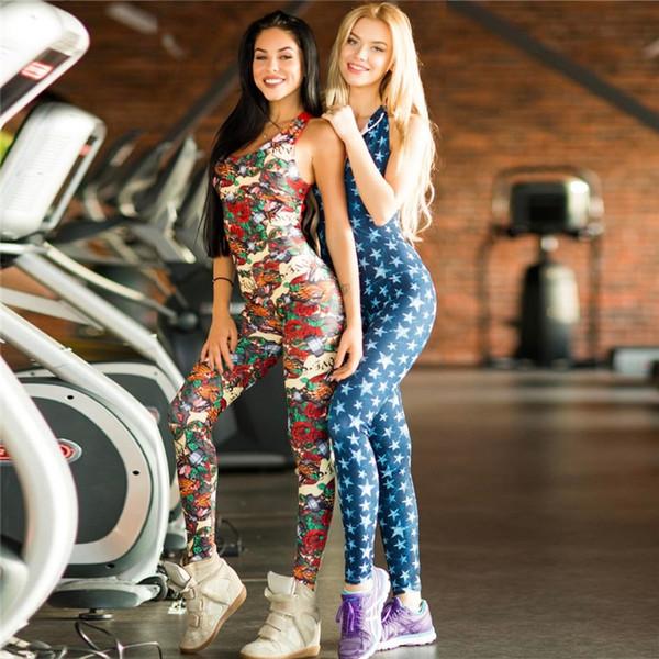 2018 One Piece Femmes Gym Sportwear Floral Print Vêtements D'entraînement Backless Yoga Set Combinaison Fitness Tight Dance Survêtement Active # 20251