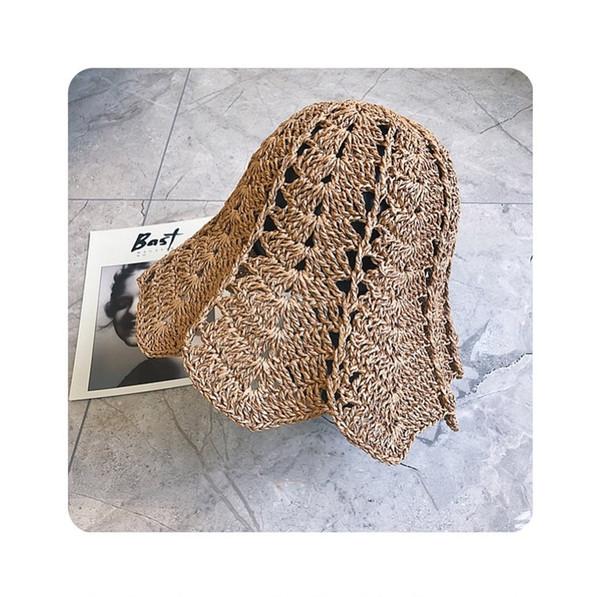 Wholesale - women's summer wear hanfu retro hand crochet hollow straw hat pot hat Japan small fresh beach sun hat