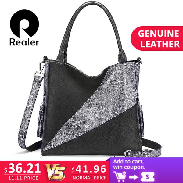 2019 Fashion REALER genuine leather shoulder bag luxury handbags women bags designer Hobo bag fashion ladies bags high quality female