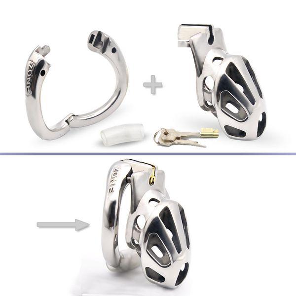 KIDDING ZONE nuovo arrivo apribile anello di disegno maschio in acciaio inox di cazzo Cage Chastity dispositivo anello del pene Foro di sfiato per adulti Bondage Sex Toy A888