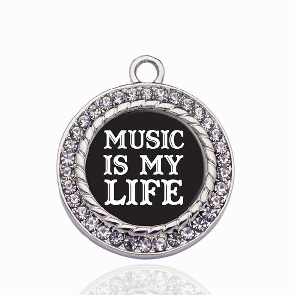Music Is My Life Круг Шарма Модные Подвески Ожерелье Кулон Ювелирных Аксессуаров Делая Мужчина Женщины Ретро Стиль Ювелирных Изделий