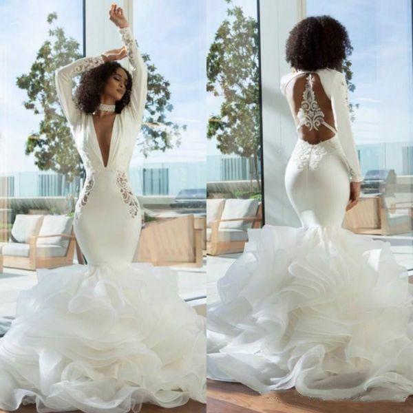 Sexy Open Back Mermaid Wedding Dresses Turkey 2019 Tiers Skirt Ruffles Deep V Neck Long Sleeves Bridal Gowns African Bride Dress Plus Size