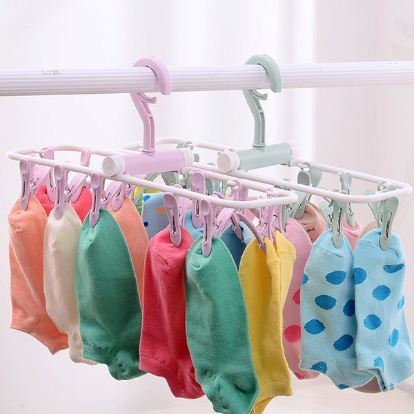 12 Clip Folding Drying Rack Underwear Socks Clip Multi-functional Clothes Rack Hot Sale High Quality New Patterns