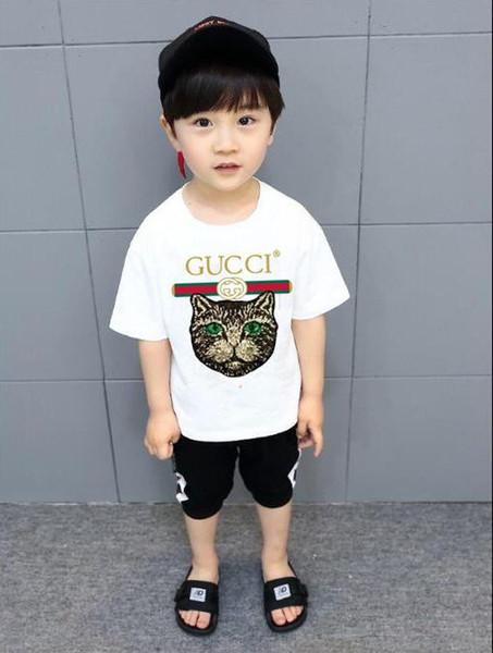 2019 nueva marca de marca de diseñador 2-9 años Bebés niños niñas Camisetas camisa de verano Tops algodón niños Camisetas Niños Ropa 2 colores t21