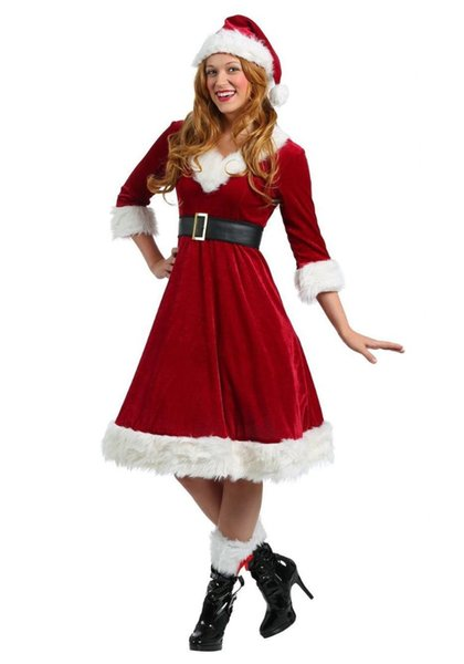 4Pcs/Set Adult Women Xmas Costume Deluxe Velvet Christmas Fancy Dresses Sexy Female Santa Claus Costume