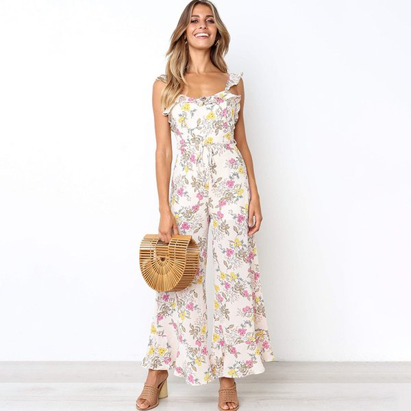 Spaghetti Strap Chiffon Floral Print Jumpsuit Women 2019 Summer Ruffles Backless Sexy Wide Leg Long Pant Jumpsuit Casual Rompers