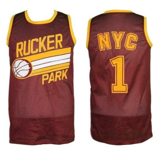 Rucker Park # 1 Harlem New York City Retro Basquete Basquete Dos Homens Costurado Personalizado Qualquer Número Nome Jerseys