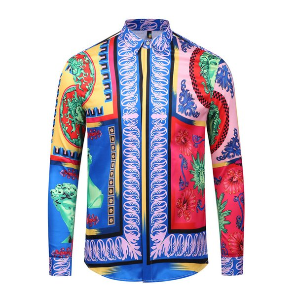 HOT 2018 Autumn winter Harajuku Medusa gold chain/Dog Rose print shirts Fashion Retro floral sweater Men long sleeve tops shirts