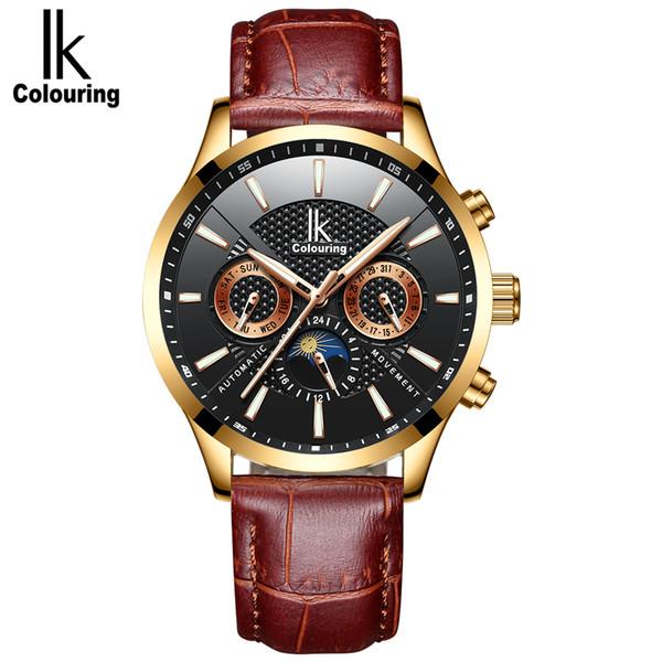Compre Ik Para Colorear Relojes De Lujo Para Hombres Relojes De Pulsera Automáticos Mecánicos Automáticos De Negocios Para Hombres Reloj De Cuero