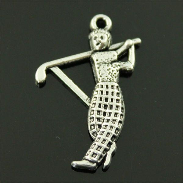 150pcs fascini del pendente di golf di sport per monili che fanno bronzo antico argento antico giocatore di golf di fascini di fascino del giocatore di golf 31x20mm