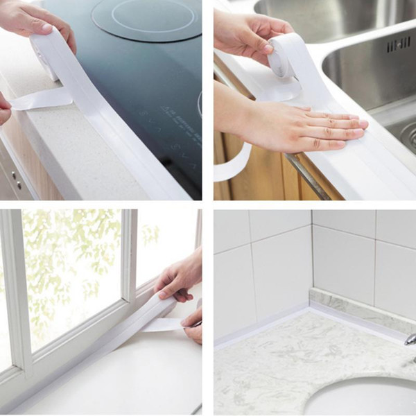 1 ROLL PVC Material Kitchen Bathroom Wall Sealing Tapes Waterproof Mold Proof Adhesive Tape