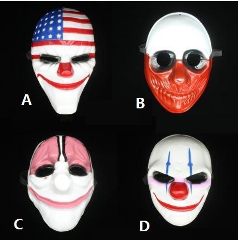 Novo Padrão Halloween Máscara Facial Série Payday2 de Alto Grau Tema do Jogo Máscaras Do Palhaço Estrelas E Listras 2 h99
