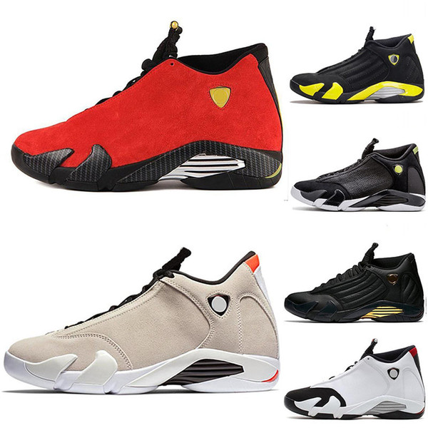 2019 14 14s Men Basketball Shoes Red Suede Thunder Black XIV Playoffs Designer Sneakers Black White Leather Utility Sports Shoes Size 7-13