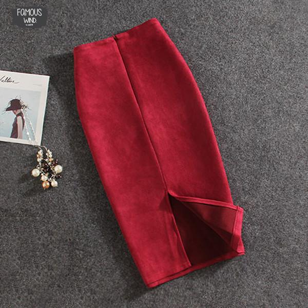 Mulheres 2019 Saias Dividir sólida e espessa elástico New saia Feminino Lápis Saias Plus Size envio Faldas Mujer Boa Qualidade Gota