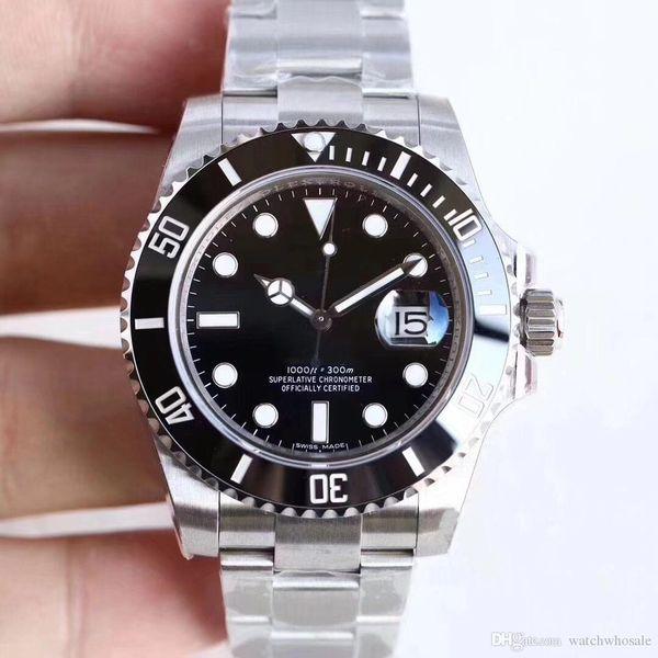U1 usine nouvellement chaud montres saphir noir lunette en céramique en acier inoxydable 40mm 116610LN 116610 mécanique automatique Mens qualité montres