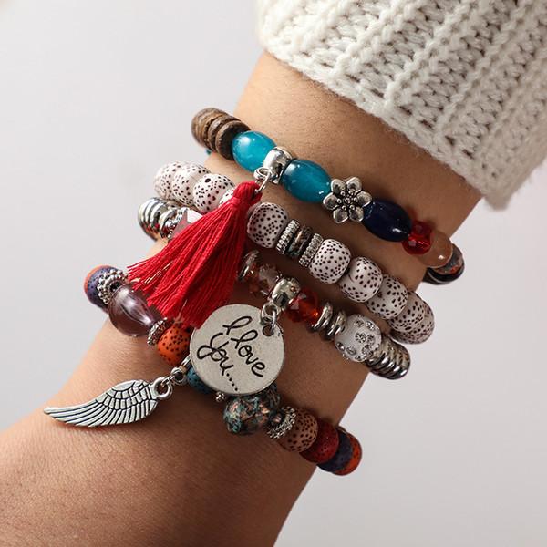 4PCS/Set Retro Bohemian Beaded Bracelet Wings Letter Tassel Flowers Beads Multilayer Stretch Stackable Bracelets Multicolor Jewelry K5002