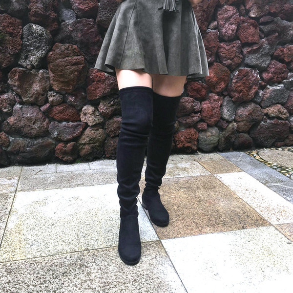 Stretch Faux Suede Thigh High Boots Women Over the Knee Boots Flat Heel Sexy Fashion Fall Winter Big Size Shoes 2019 Black Gray T190922