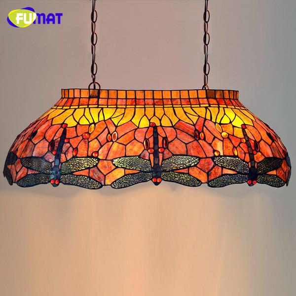Lampada a sospensione in vetro multicolore Lampada a sospensione moderna Lampada da tavolo moderna Tiffany Bar Lampada a sospensione Dragonfly