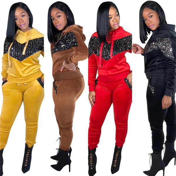 Women sequins sweatsuit panelled two piece set hooded hoodies bodycon pants designer fall winter clothing running suit casual outfits 1575
