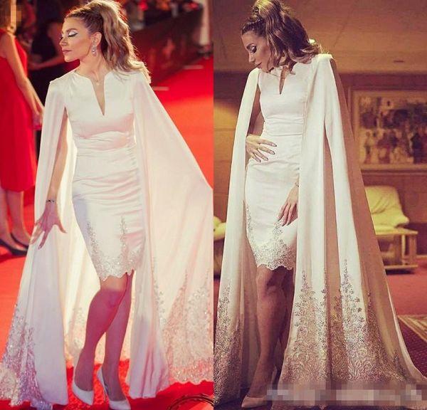 2018 Gorgeous White Applique Lace Sheath Evening Dresses With Coat Cape Satin Long Prom Gowns Custm Short Party Formal Wear