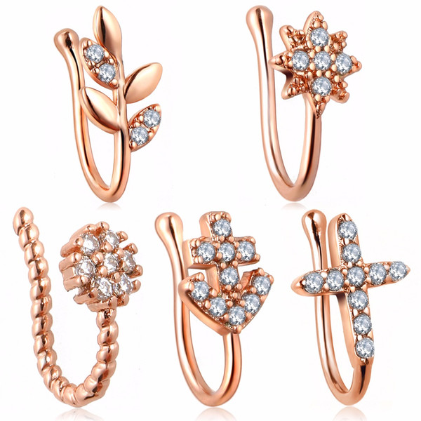 Crystal No-piercing Nose Clip Shellhard Silver Rose Gold Leaf Star Flower Nose Ring For Women Men Piercing Body Jewelry
