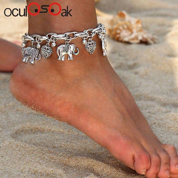 Cavigliere d'argento d'oro d'epoca per le donne gioielli ciondolo a forma di elefante pendenti con ciondolo a forma di elefante
