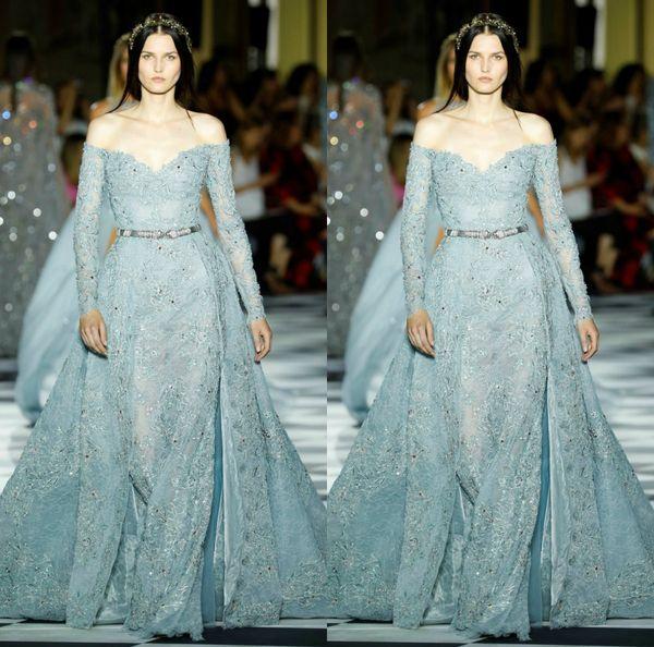 Зухаир Мурад Customized Русалка вечернее платье с плеча с длинным рукавом вечернее платье тюль платье невесты Съемные Кристалл Пояса партии