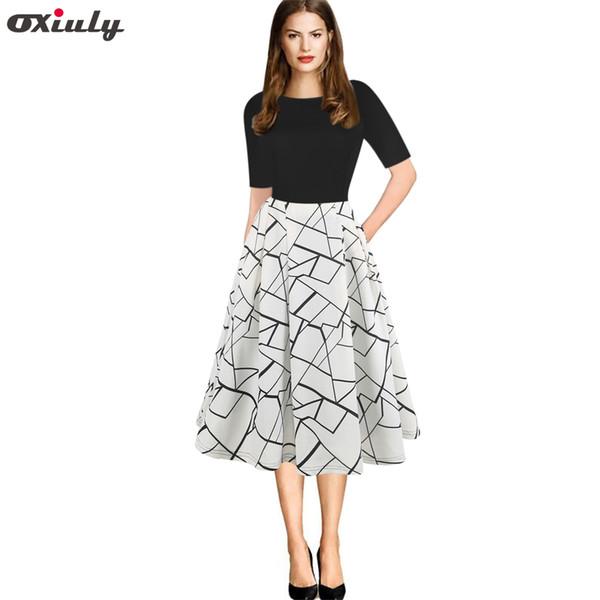 2708d5a866e51 Oxiuly Vintage Women Dress Patchwork Stripe Plaid O Neck Women Casual  Office Dress Half Sleeve A Line Swing Spring 2019 Long Women Dress Party  Dresses ...