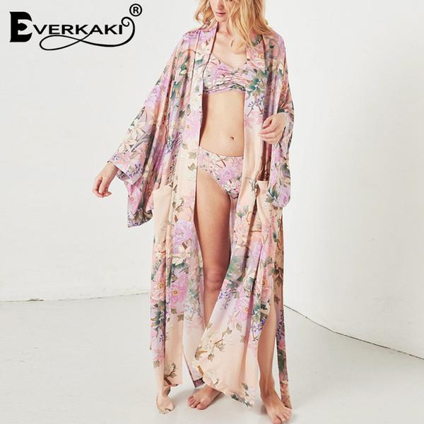 Women Boho Kimono Coats Fashion Floral Printed Jacket With Sashes Bohemian Loose Cotton V-neck Pink Coat Kimono Female T5190604