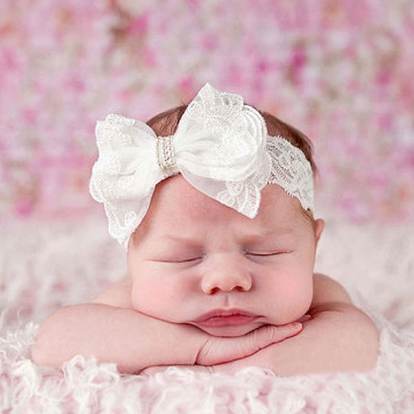 Hot Baby Girl Bows Lace Headband fashion soft White Color Bohemia Bow Girl Infant Hair Accessories Headband