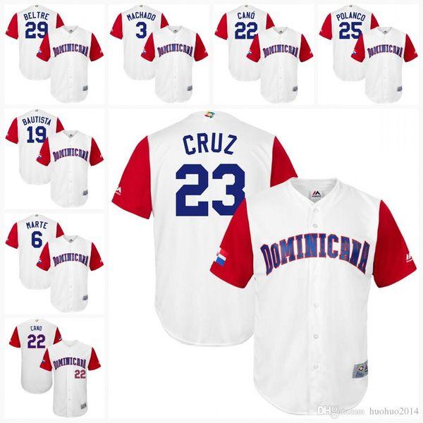 Männer Dominikanische Republik 2017 World Baseball Classic Trikot 3 Manny Machado 6 Starling Marte 19 Jose Bautista 22 Robinson Cano Team Trikots