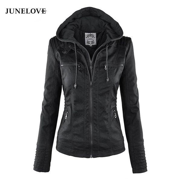 JuneLove Women hoodies Winter Moto Jacket Hot Turn Down Collor Ladies Outerwear faux leather PU female Jacket Coat