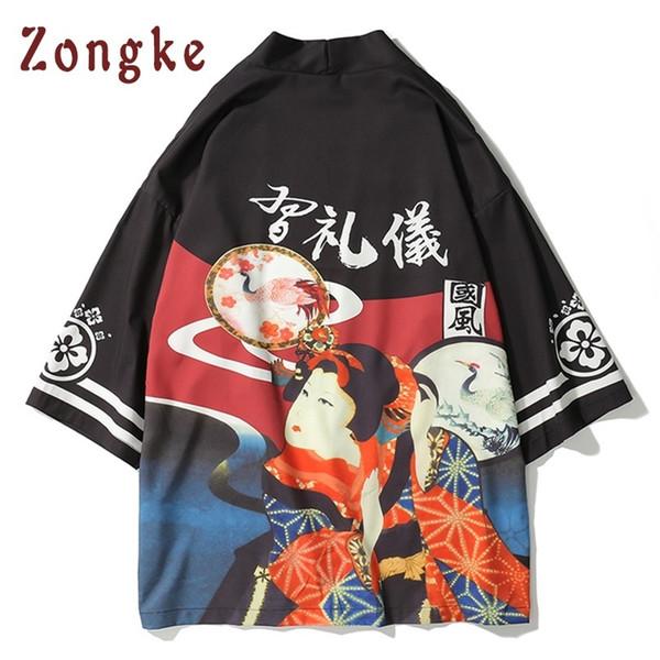 Zongke Japanese Japan Geisha Print Long Men Thin Mens Kimono Cardigan Jacket Coat 2018 C19040401