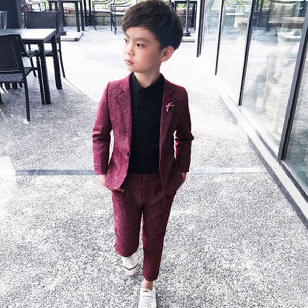 Kids Party Wear 2Pc Boys traje formal para el banquete de boda 2019 Toddler Boy Blazer Suit estudiante escuela trajes de ceremonia